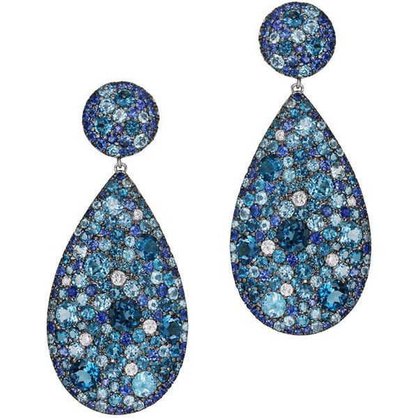 "Cedric Garnier """"Cobbled"""" Blue Topaz Drop Earrings (7 398 995 LBP) ❤ liked on Polyvore featuring jewelry, earrings, earring jewelry, blue topaz earrings, 18 karat gold jewelry, blue topaz jewelry and 18k jewelry"