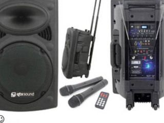 """Portable PA System """"Mobile"""" $149.00  QTX Sound 15″ Portable PA System  50 + 50W max (LF + HF)  Play music all night through your Laptop or Ipod  Wireless Microphone Included – This is great for speeches  Up to 8 hours life on battery OR simply plug into mains  Includes a demo on how to work  Free delivery and set up with any Marquee Hire  Recommended for Speeches, surround music or portable application"""