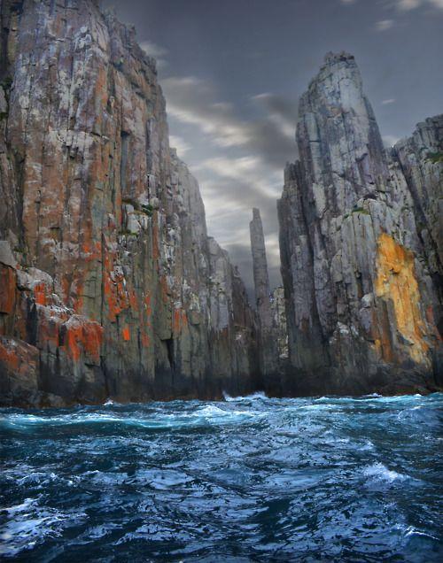Tasman Island, Tasmania, Australia  If you look at it just right, it looks like a sea running thru tall sky scrapers in a big city