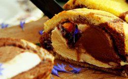 Jamie Oliver ensina a preparar e montar um rocambole de pão de ló marmorizado com recheio de sorvete.