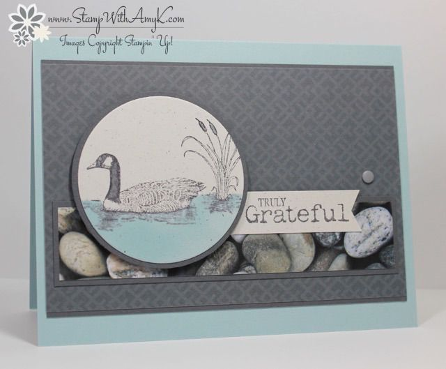 February 21, 2015 Stamp With Amy K: Stampin' Up! Moon Lake Truly Grateful Card Adventure Bound DSP
