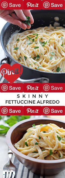 Skinny Fettuccine Alfredo - creamy cheesy pasta that is light on calories but big on flavor! Get the recipe atSkinny Fettuccine Alfredo - creamy cheesy pasta that is light on calories
