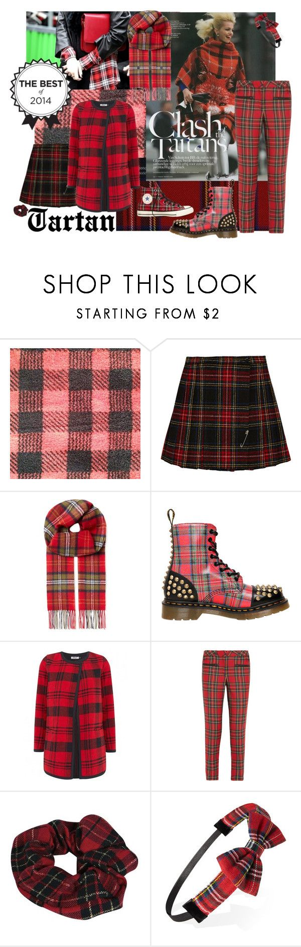 """Best of 2014: Tartan"" by alexosterberg ❤ liked on Polyvore featuring Yves Saint Laurent, Johnstons, Dr. Martens, Karl Lagerfeld, Boohoo, Fantasie and Forever 21"