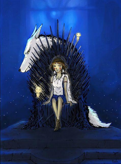 Mononoke Princess Gibli Miyazaki fanart GoT Iron Throne by LePueblo