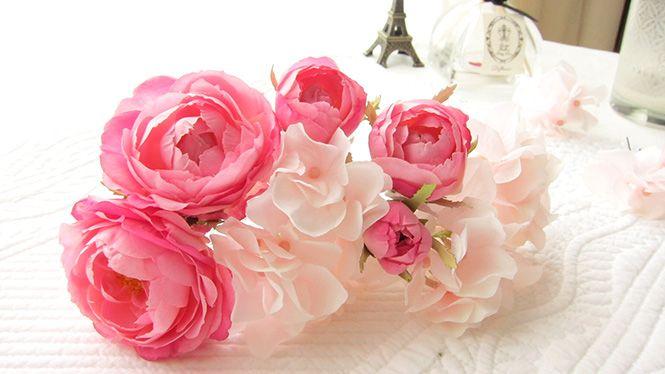 バラとあじさいのヘッドドレス ピンク http://www.fleuriste-glycine.jp/