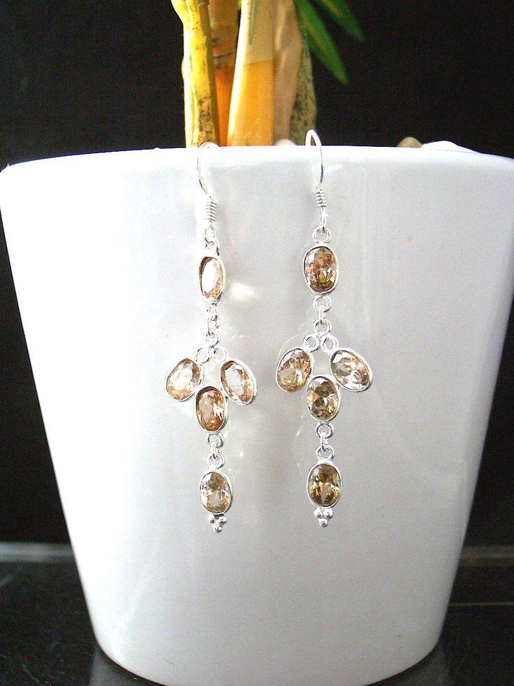 Natural GENUINE CITRINE Gemstone 925 Sterling Silver Elegant and Feminine Burlesque Style Dangle Earrings Jewellery!! by Ameogem on Etsy