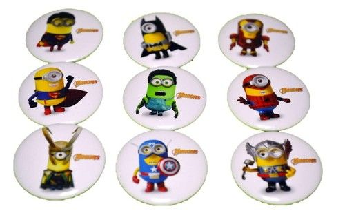 "Despicable Me Minion Avengers Themed Party Badges Favors 1"""" (Set of 9)"