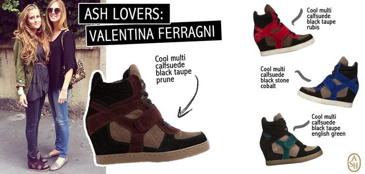 La sorella di Chiara Ferragni, Valentina, dimostra la sua passione per la moda e per le ultime tendenze, indossando le sneaker con zeppa Cool Multi! Tu di che colore sei?  #ashitalia