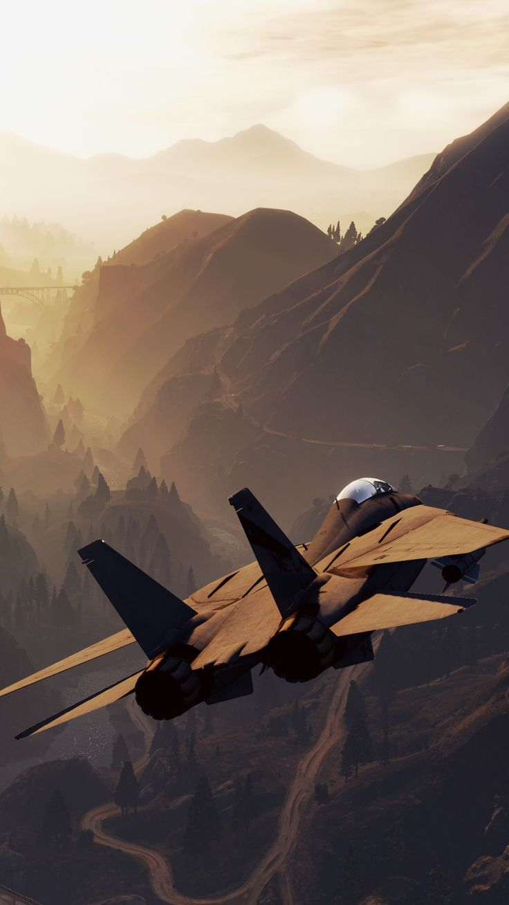 Video Game Grand Theft Auto V Grand Theft Auto Mountain Landscape Aircraft Warplane Jet Fighter Mobile Wallpaper