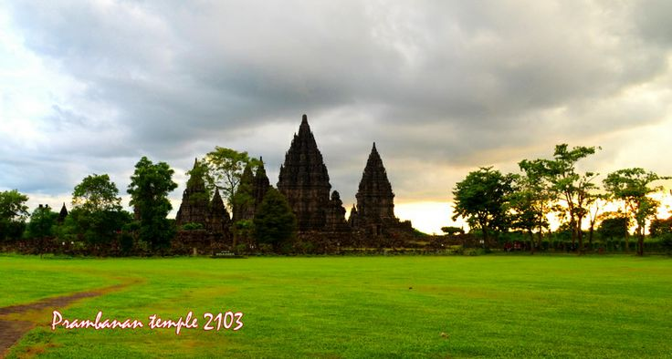 Prambanan temple [hindu religion] when sunset