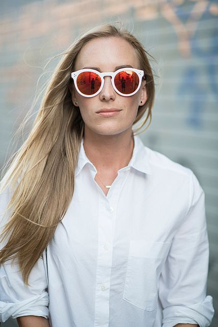 Kimberly in white mirrored sunglasses #eatsleepwear #style #fashion