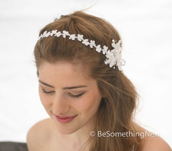 Wedding Flower and Daisy Lace Headband Pearl Tie by BeSomethingNew, $42.00