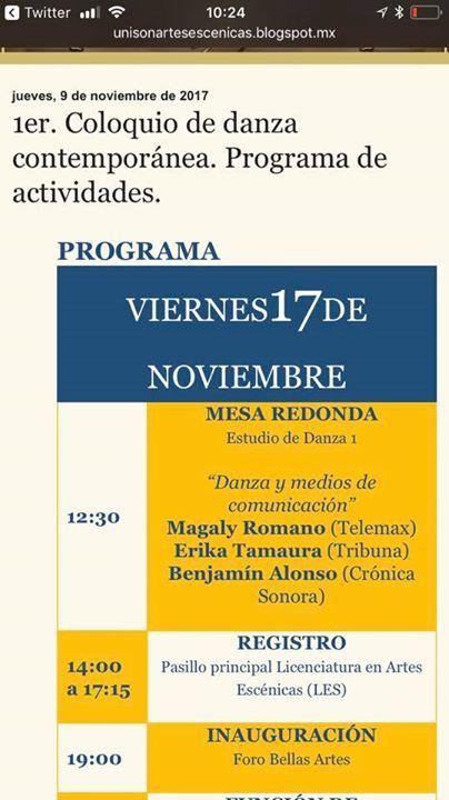 Buen día. Este viernes estaré compartiendo temas sobre la periodismo cultural y gestión de la difusión en el Coloquio de Danza Contemporánea de Bellas Artes Unison Universidad de Sonora #UNISON #Hermosillo. Gracias de nuevo por la invitación y ahí nos vemos.   http://ift.tt/2zZvJM8