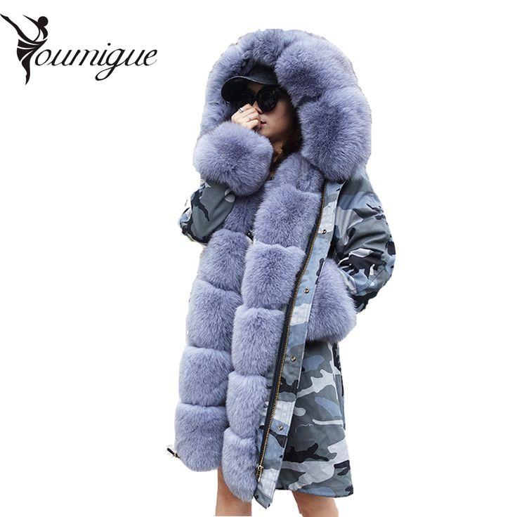 YOUMIGUE Vrouwen winter warm natuurlijke grote vos bontkraag real bont parka met luxe rex konijnenbont voering camouflage parka jas(China (Mainland))