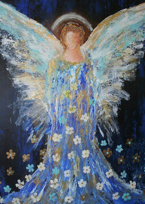 """Angels Among Us Greeting Card for Sale by Alma Yamazaki.  Our premium-stock greeting cards are 5"""" x 7"""" in size and can be personalized with a custom message on the inside of the card.  All cards are available for worldwide shipping and include a money-back guarantee."""