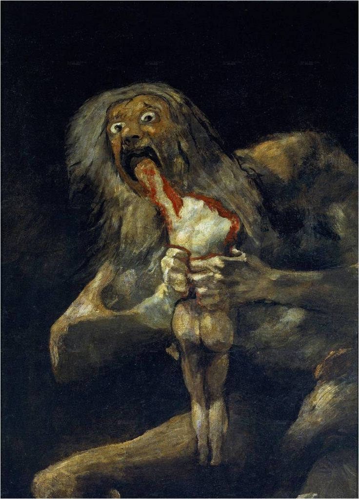 Francisco de Goya y Lucientes, Saturn Devouring One Of His Sons, 1821-1823