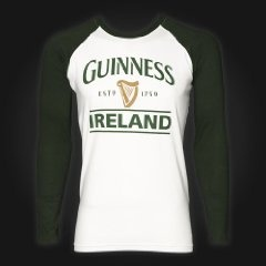 Guinness White Green Raglan Tee