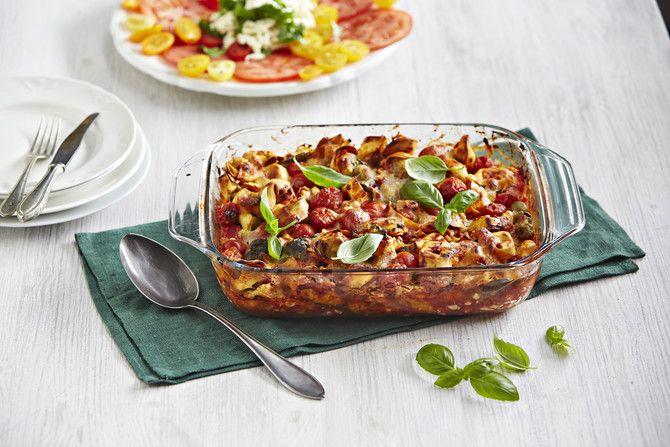 Mifusta ja tortelliineista valmistuu helposti maukas ja näyttävä vuokaruoka.