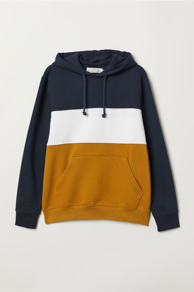 0c96acba0 Color-block Hooded Sweatshirt - Dark blue/mustard yellow - Men | H&M US