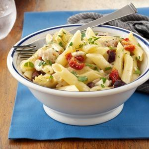 Greek Chicken Pasta.  Delicious.  I made a few adjustments:  pre-baked 3 chicken breasts and shredded, used garlic  herb feta, added red pepper flakes, used pitted Kalmata olives and transferred to a shallow baking dish and baked in the oven until browned and bubbly on top.  Be sure to use good quality ingredients, they make a huge difference.     #baked #chicken #breast #recipes