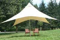 Camping-Freizeit-Sonnensegel (4) Pyramide 4 x 4 m - sandfarben als Sonnenschutz und Regenschutz für die ganze Familie oder als Partyzelt im Garten