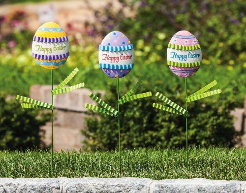 """Easter Blessings Egg Garden Stakes - 3 assorted by Accent Your Life. $15.74. Approximate dimensions are 7"""" x 0.5"""" x 20"""". Made of metal. Set of 3 garden stakes. Easter is a holiday that sets up the tone for spring, renewal and hope. These hand painted Easter egg garden stakes bring a welcoming bit of charm to your home during the Spring season. Stake them in your garden or in potted plants for a warming bit of decoration."""