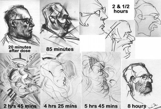 This is a test conducted on an artist in 1950. He was given a dosage of LSD and was provided a box full of pencils and crayons.