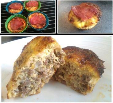 Madmuffins   Tænd ovnen på 175 grader. Kødet svitses på panden til det er letbrunt. Æggene piskes, hvorefter salt, peber, chilipulver og hytteosten blandes i og røres rundt. Til sidst tilsættes kødet æggemassen. Fordel massen i muffinforme og stil dem i ovnen i 12 minutter. Muffins tages ud af ovnen og kalkunbacon lægges ovenpå og der gives yderligere 12 minutter i ovnen. Jeg fik 12 muffins af denne portion.