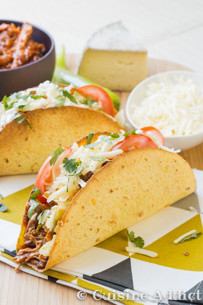 Tacos au pulled pork.(http://cuisine-addict.com/tacos-au-pulled-pork-tomme-de-savoie-porc-effiloche-cuit-au-four/)