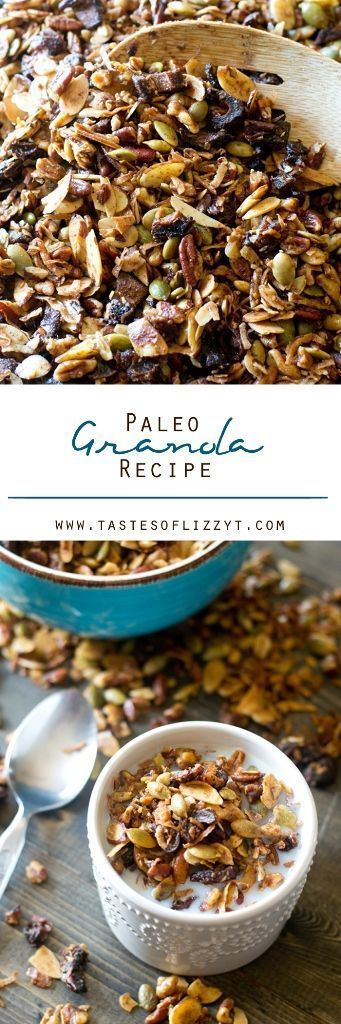 Paleo Granola Recipe - Tastes of Lizzy T. Here's a nutty, crunchy, paleo granola recipe baked in coconut oil and sweetened with dates. Serve this sugar-free recipe as a snack or for breakfast as cereal.