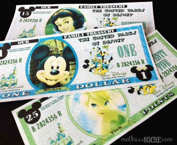 "Disney bucks printables for kids - kids can earn ""bucks"" they can use towards things they want."