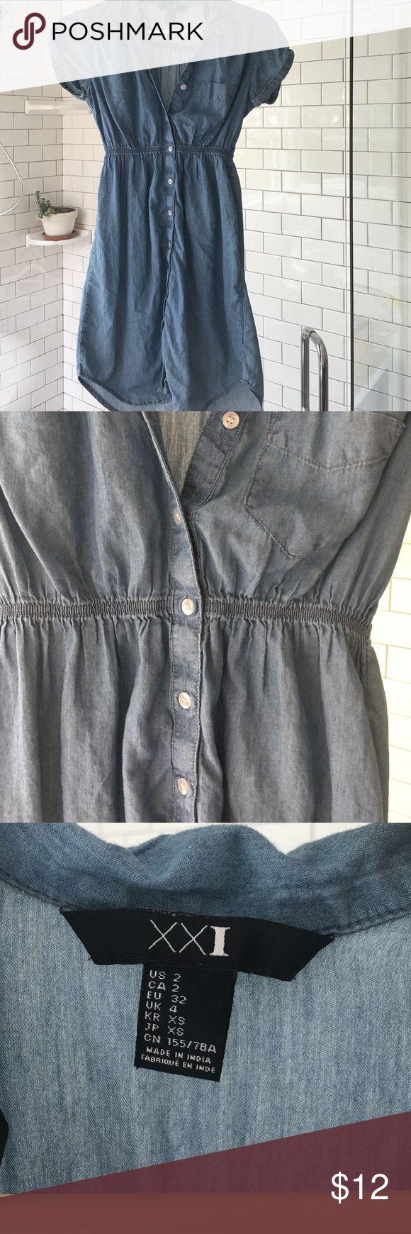 Denim shirt dress Soft denim button down shirt dress Forever 21 Dresses