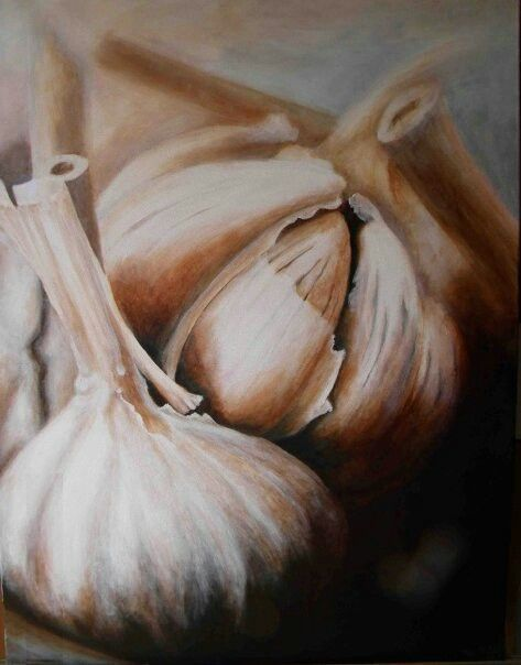Garlic, a natural aphrodisiac.   1000x750mm, Acrylic on canvass, painted by Susan Brett.