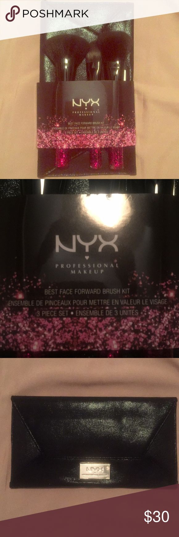 NYX best face forward makeup brush set Limited edition 3 piece makeup brush set for flawless looking makeup. Includes the pro, powder and flat foundation brushes. All brushes have glittery pink handles. Comes with black storage pouch. NYX Cosmetics Makeup Brushes & Tools #Bestmakeupbrushes&tools #flawlessmakeup