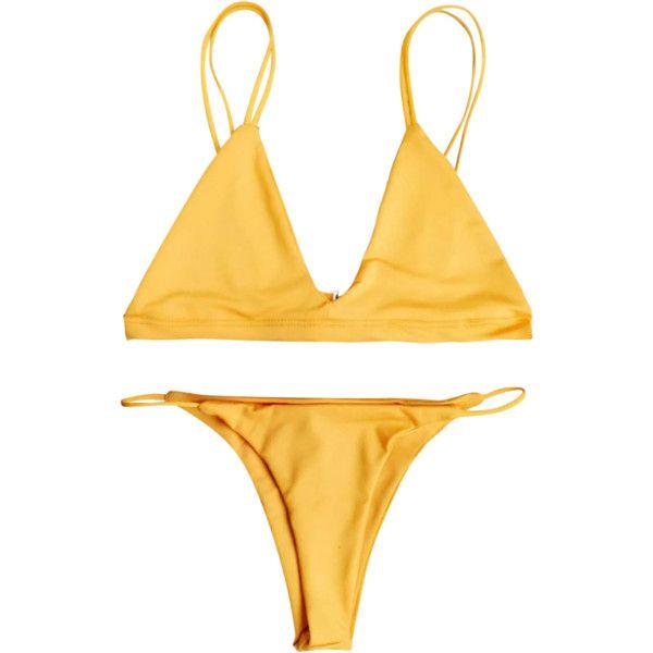 Low Waisted Spaghetti Straps Bikini Swimwear ($12) ❤ liked on Polyvore featuring swimwear, bikinis, bikini swim wear, bikini swimwear, bikini beachwear, orange bikini and bikini two piece