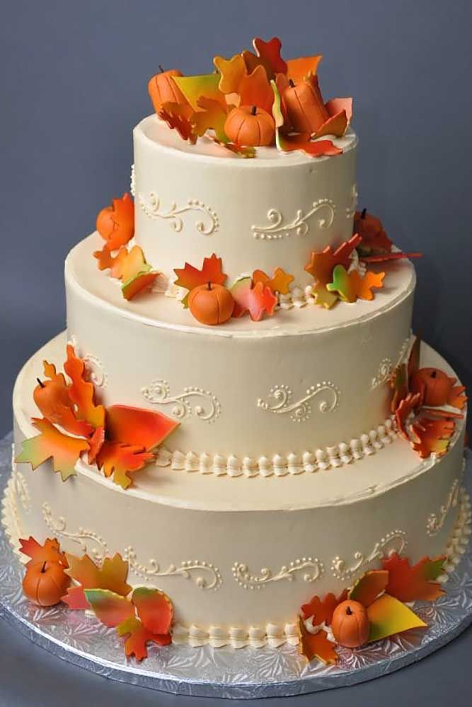 65 Awesome Fall Wedding Cake Ideas Wedding Cake With Colorful Leaves Diy Wedding Food Samples On A Fall Wedding Cakes Diy Wedding Cake Wedding Cake Rustic