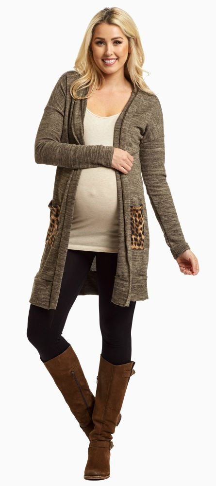 This knit maternity cardigan is the perfect addition to your fall wardrobe this season. A basic knit maternity cardigan with a cheetah print pocket for some flair and a hood to keep you warm when the cold weather sets in.