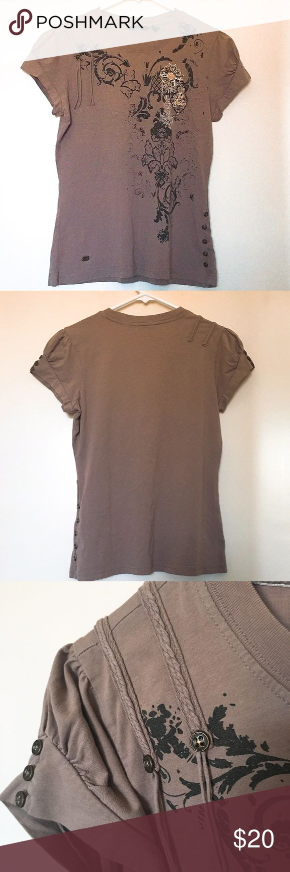 Ted Baker Embellished Tee Dusty rose-coloured Ted Baker statement tee. Fitted with lots of fun details. This is a Ted Baker size 2, which converts to a US size 6. 100% cotton. Ted Baker Tops Tees - Short Sleeve