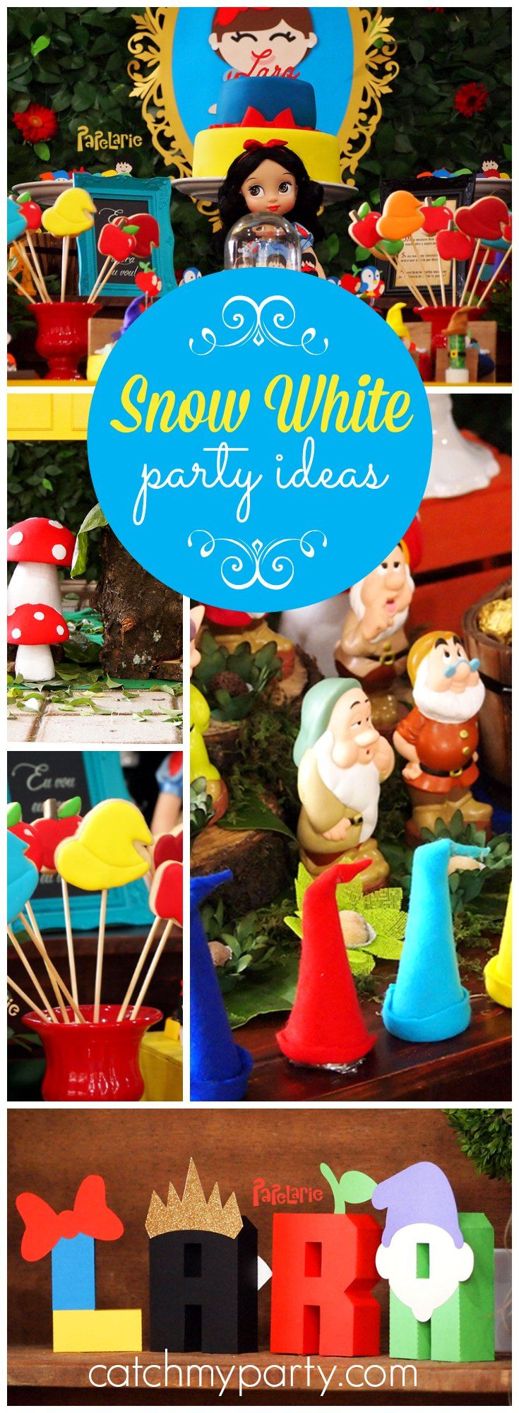 What an incredibly detailed Snow White birthday party! See more party ideas at Catchmyparty.com!