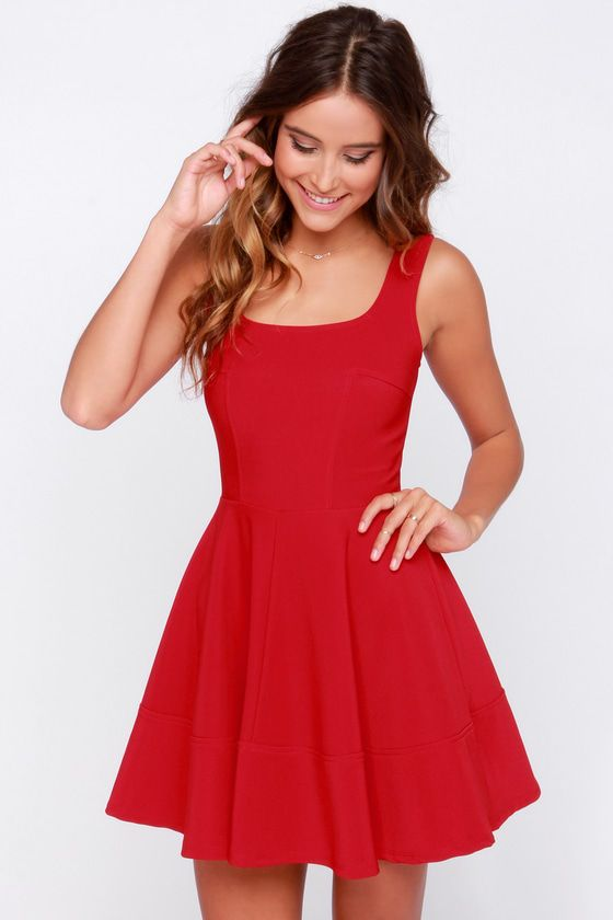 Whether you're home by curfew or keep the party going all night, the Home Before Daylight Red Dress is the perfect party companion! Knit tank straps support a stunning bodice with a sexy square neckline, scoop back, and unique seaming in front. The fun continues with a fit and flare style, thanks to a full circle skirt. Exposed back zipper.