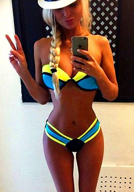 Blue Color Block 2-in-1 Cut Out Sexy Swimwear