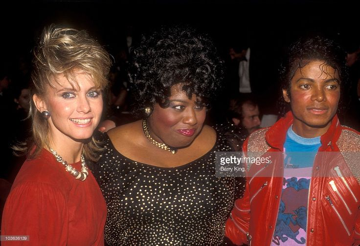 "MJ and actresses Olivia Newton Jones and Jennifer Holliday at the ""Dreamgirls"" Opening Night After Party at the Shubert Theater in Century City March 20, 1983."