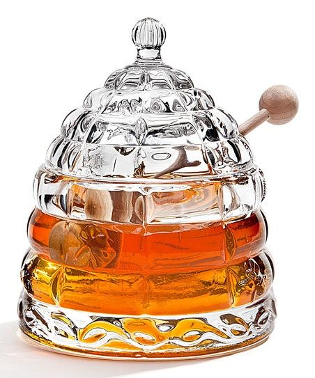 Glass Bee Hive Honey Pot - can also be used for maple syrup, agave nectar, apple honey, and so forth.
