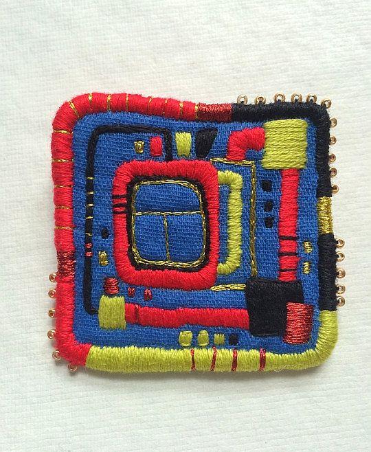 "Brooch ""HundertwasserWindow"",  hand embroidered by makiko, $26.00"