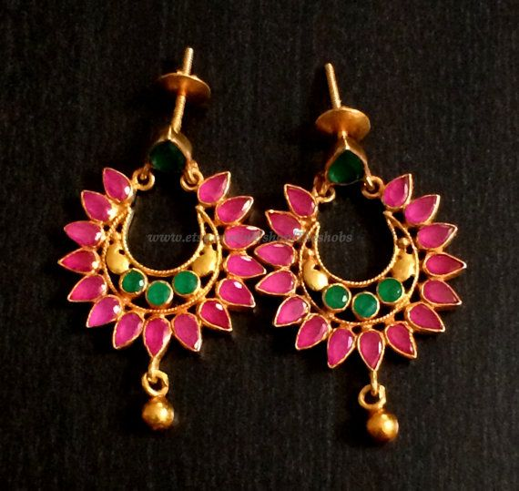 Elegant pink ruby gold plated earring by Theshobs on Etsy