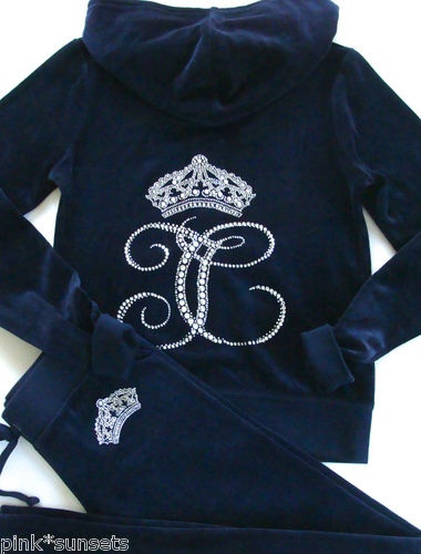 Juicy Couture Ornate Monogram Velour Hoodie pants Track Tracksuit Regal