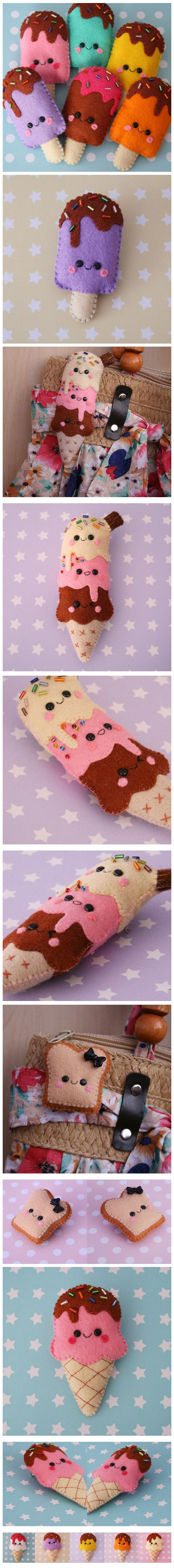 We're so making these! Cute :) Felt ice-cream ornament inspiration... #FeltCraft #Icecream
