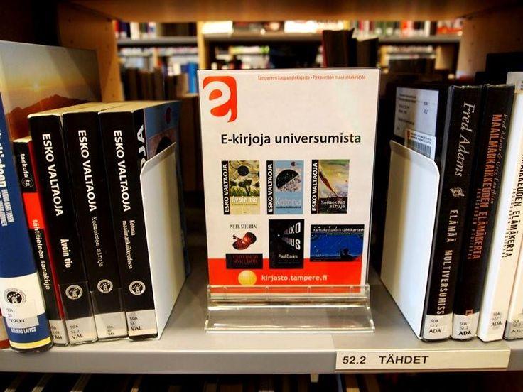 Sampola Library from Tampere made these cool e-library promotion signs. Hieno idea ja hyödynnetty jo kivasti e-kirjastojen graafista ilmettä!