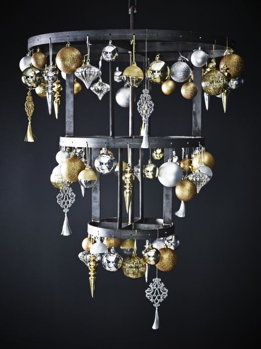 Ikea Christmas Collection Trend Modern Classic   Modern Upside Down Tree  With Christmas Decorations In Silver And Gold.