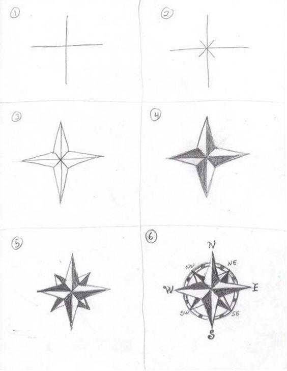 Compass Drawing How to – Coisas para desenhar, Doodles, Bujo Ideas, Pencil Drawing, si   – diy